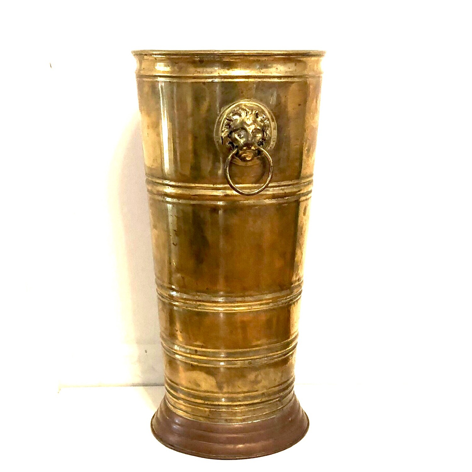 Brass Umbrella Cane Stand with Lion Heads - image-1