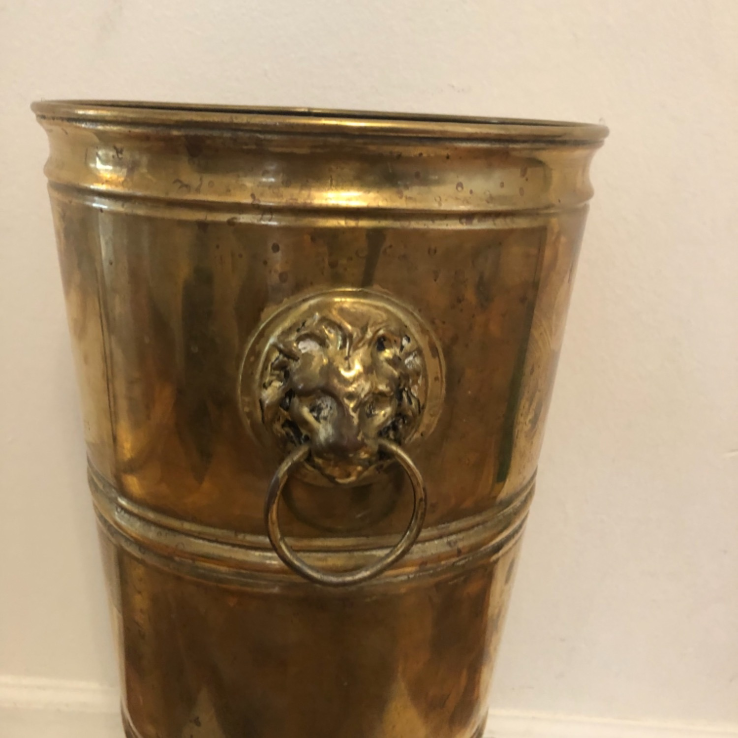 Brass Umbrella Cane Stand with Lion Heads - image-2