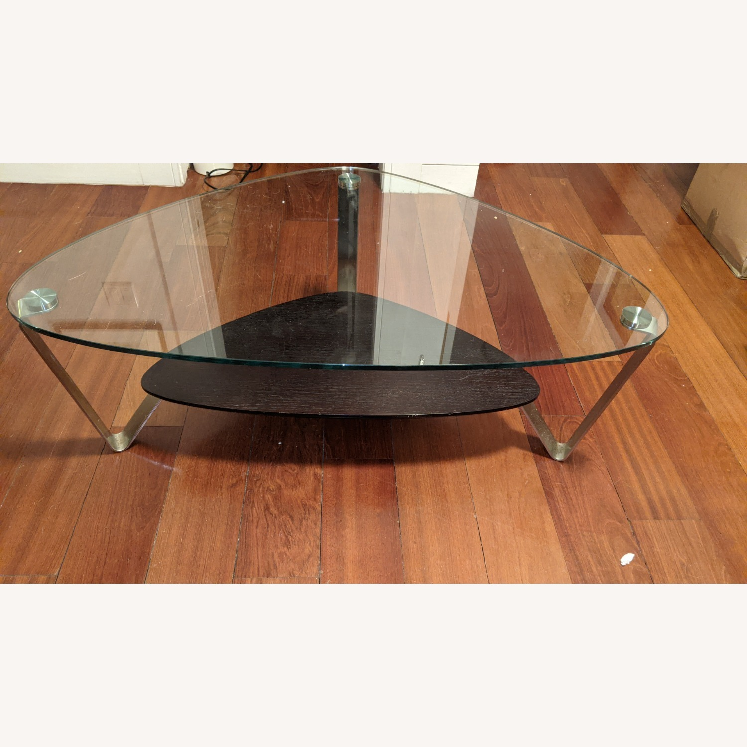Modern Small Glass and Steel Coffee Table - image-2
