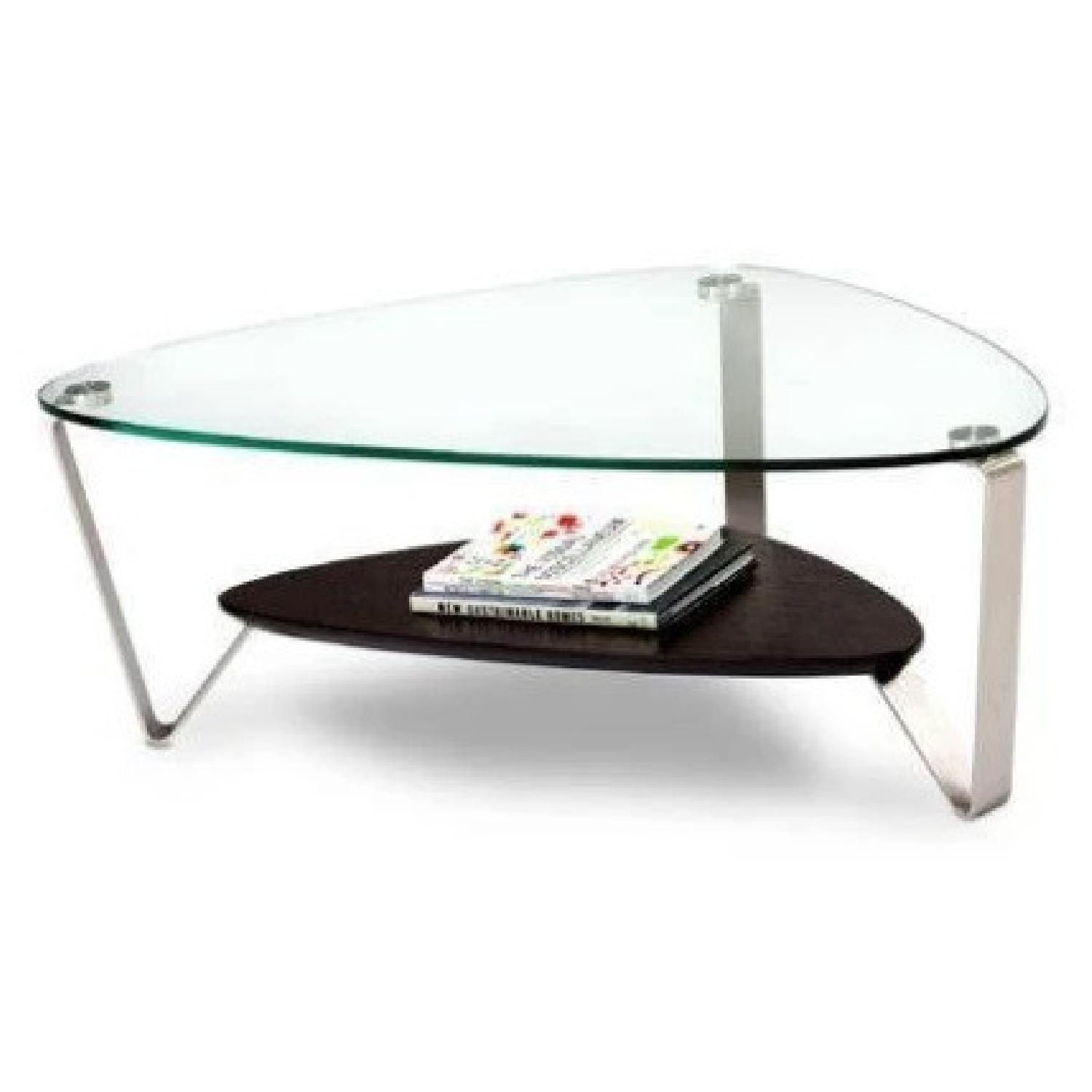 Modern Small Glass and Steel Coffee Table - image-4