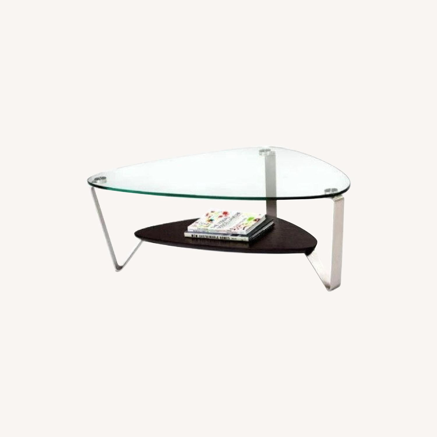 Modern Small Glass and Steel Coffee Table - image-0