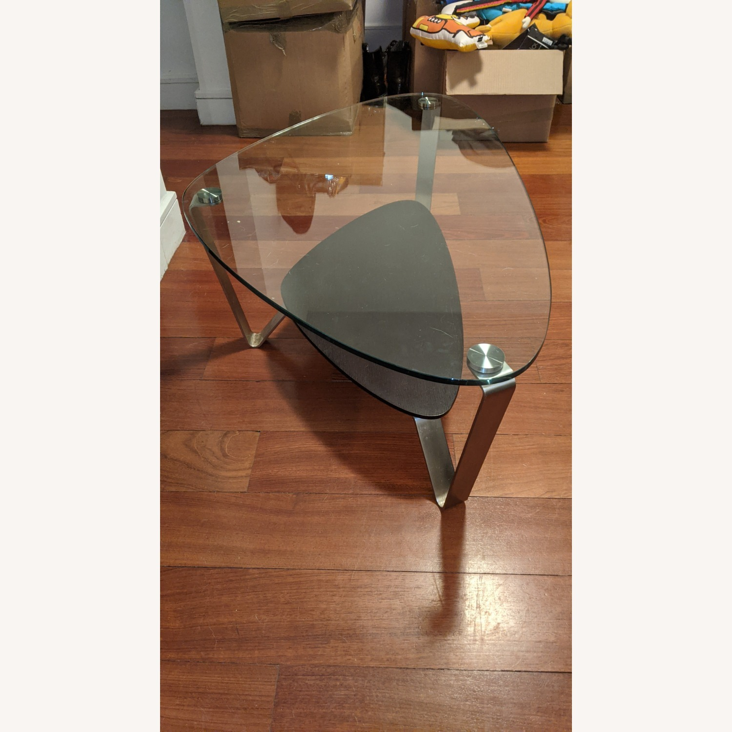 Modern Small Glass and Steel Coffee Table - image-1