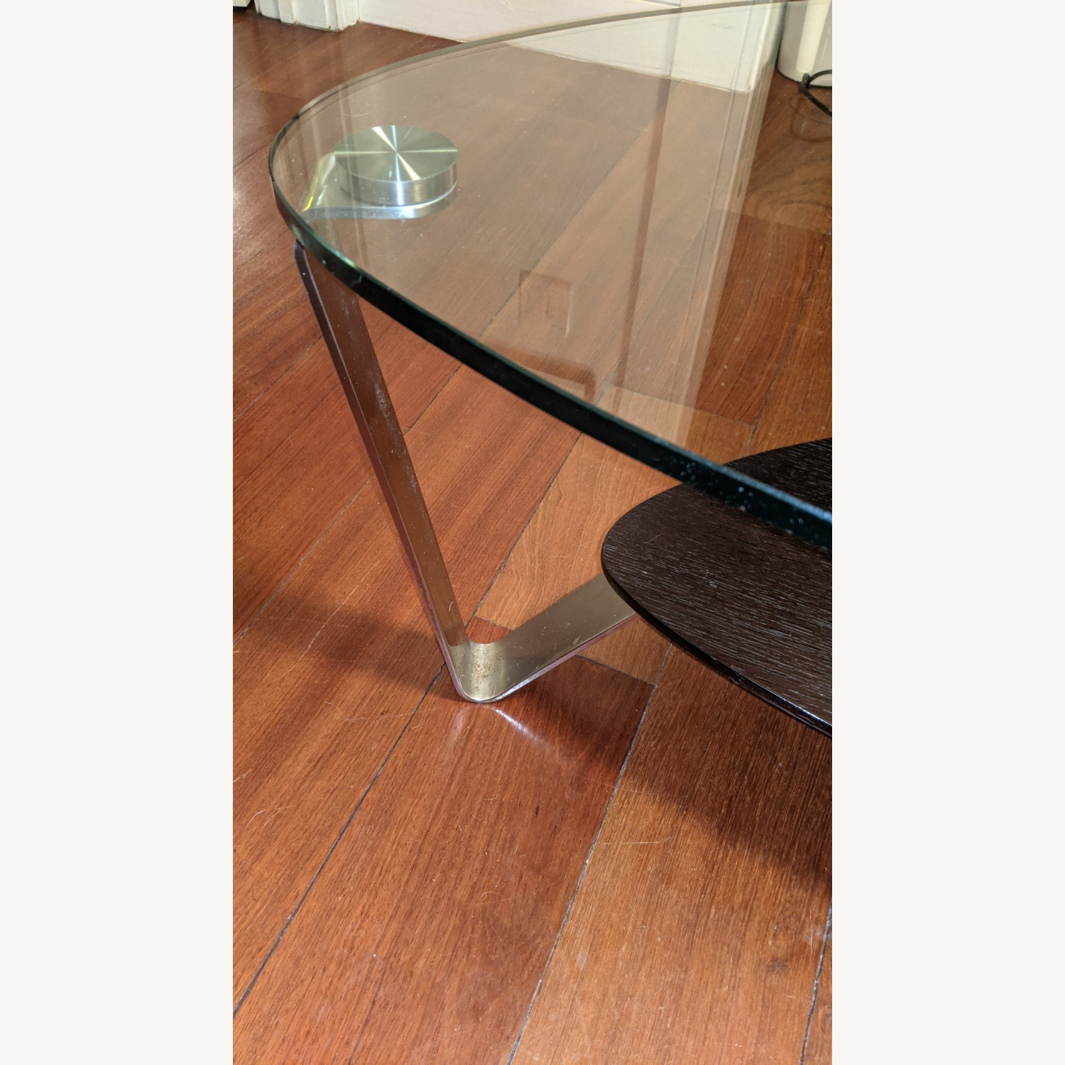 Modern Small Glass and Steel Coffee Table - image-3