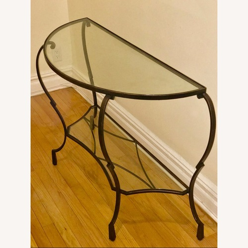 Used Pier 1 Imports Glass and Metal Foyer Table for sale on AptDeco