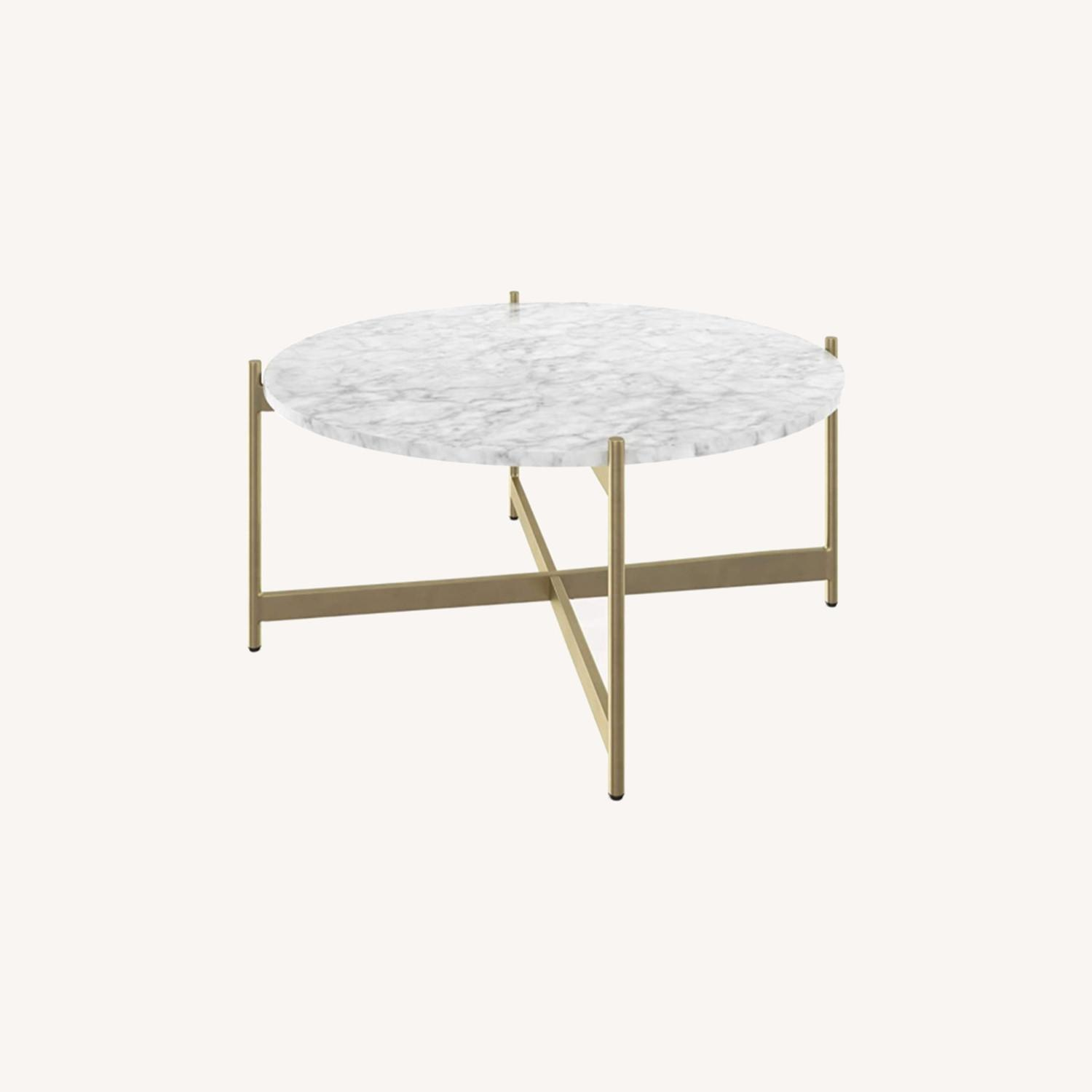 Mid Century Modern Marble Coffee Table Gold Frame - image-0