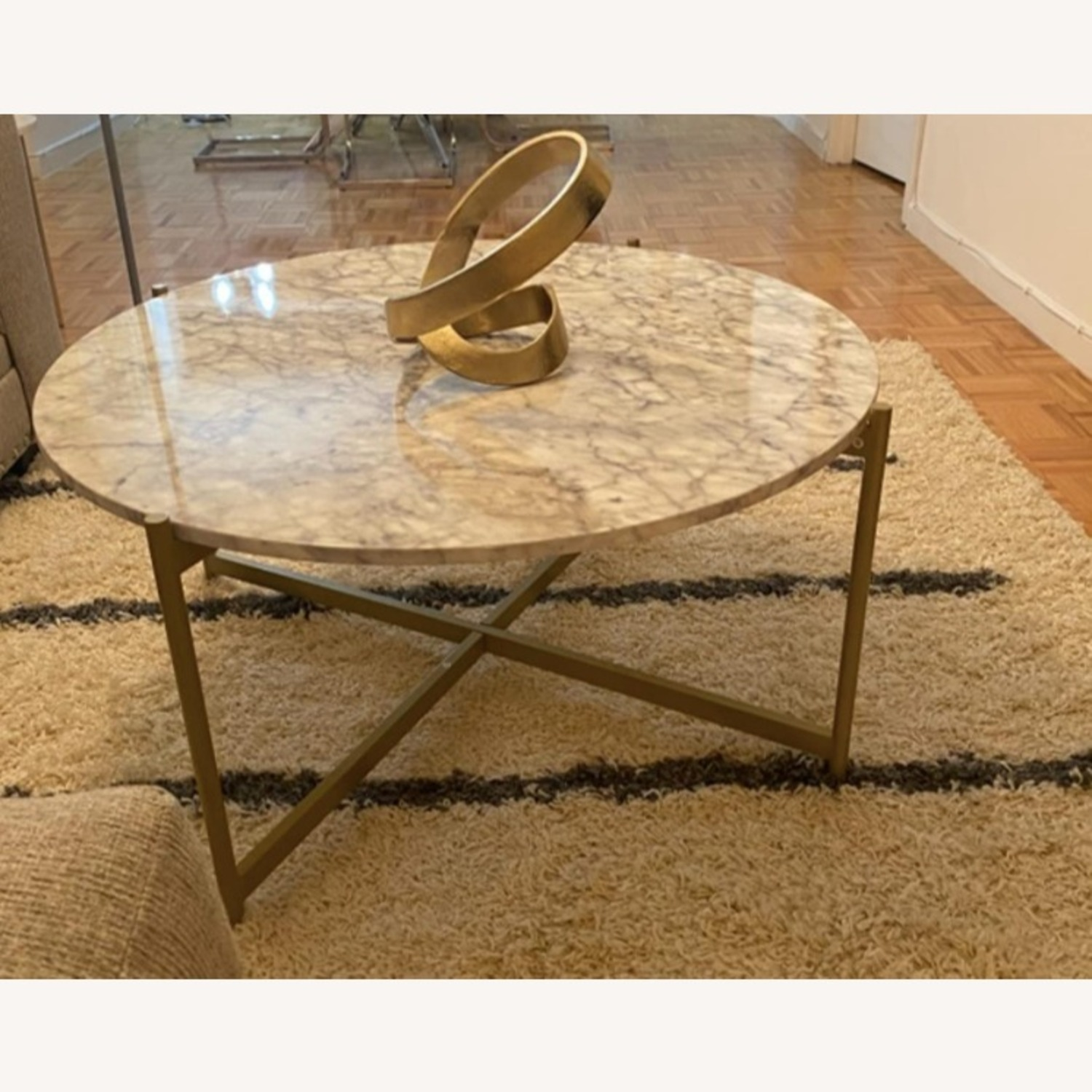 Mid Century Modern Marble Coffee Table Gold Frame - image-3