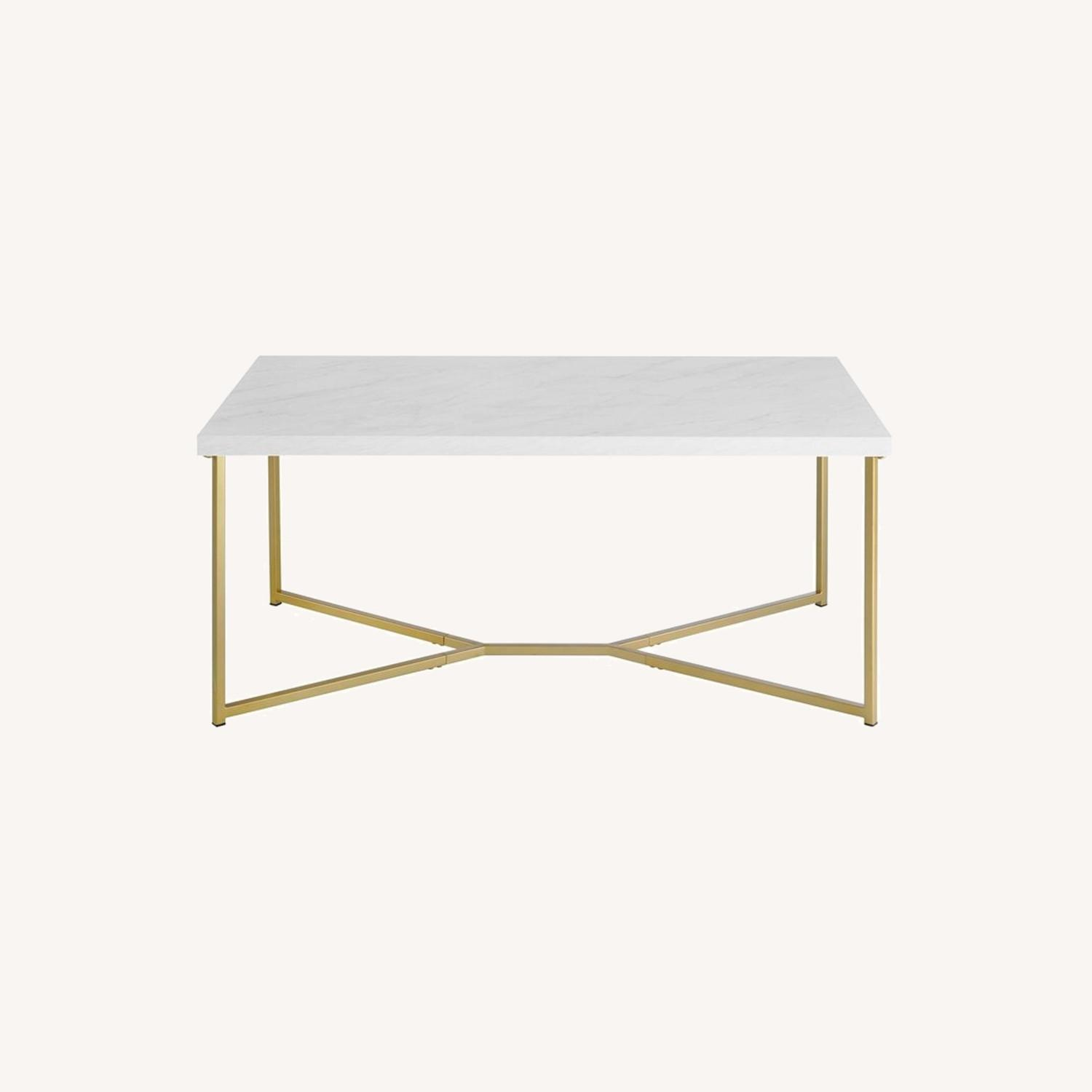 Wayfair Faux White Marble Coffee Table - image-0