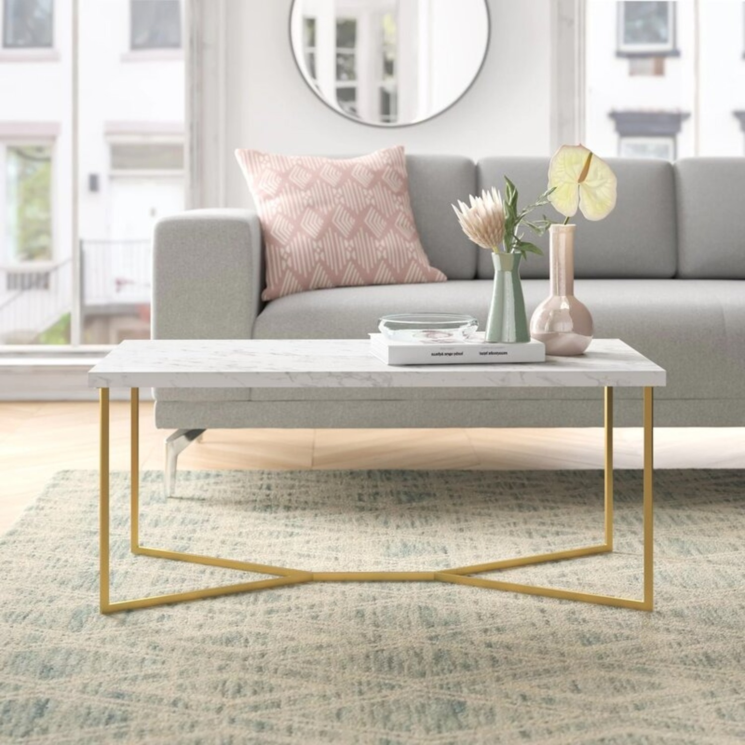 Wayfair Faux White Marble Coffee Table - image-1