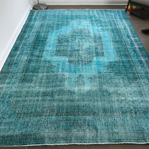 Used Revival Turkish Overdyed Distressed Rug for sale on AptDeco