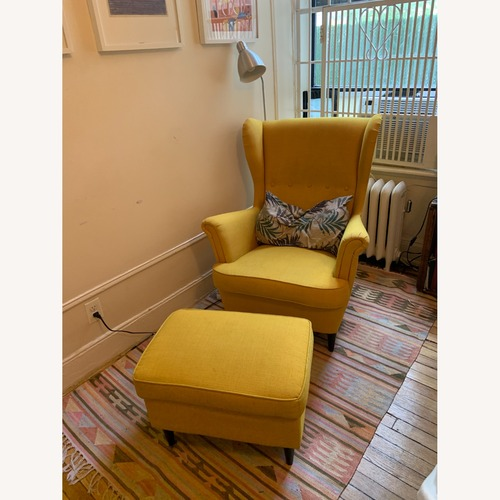Used IKEA Yellow Strandmon Chair & Ottoman for sale on AptDeco