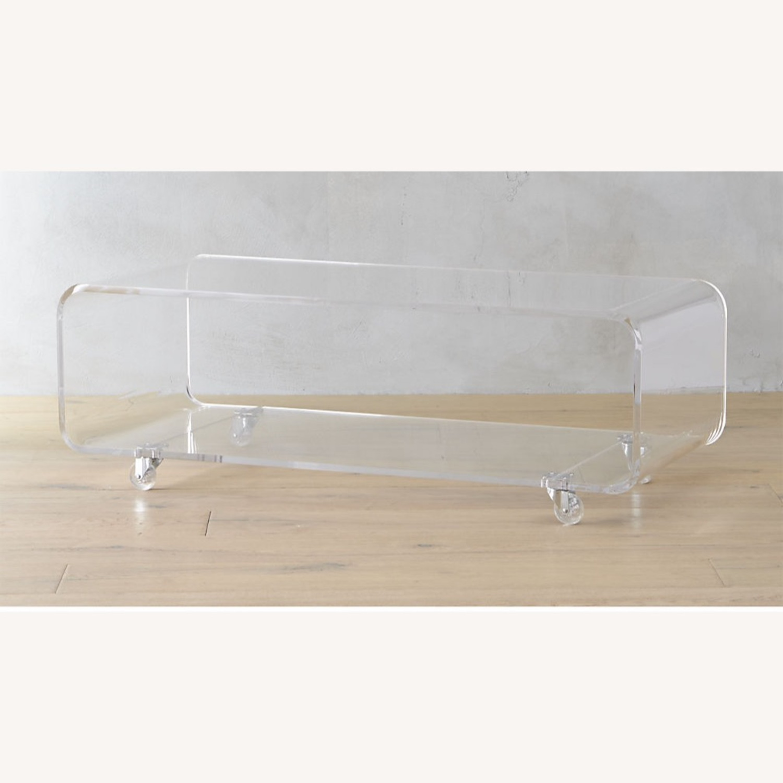 CB2 Peekaboo Acrylic Table on Wheels - image-1