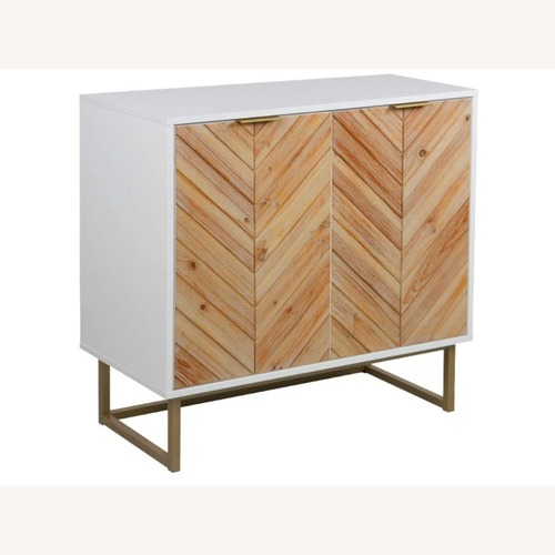 Used Modern White Wood Storage Accent Cabinet w Gold for sale on AptDeco