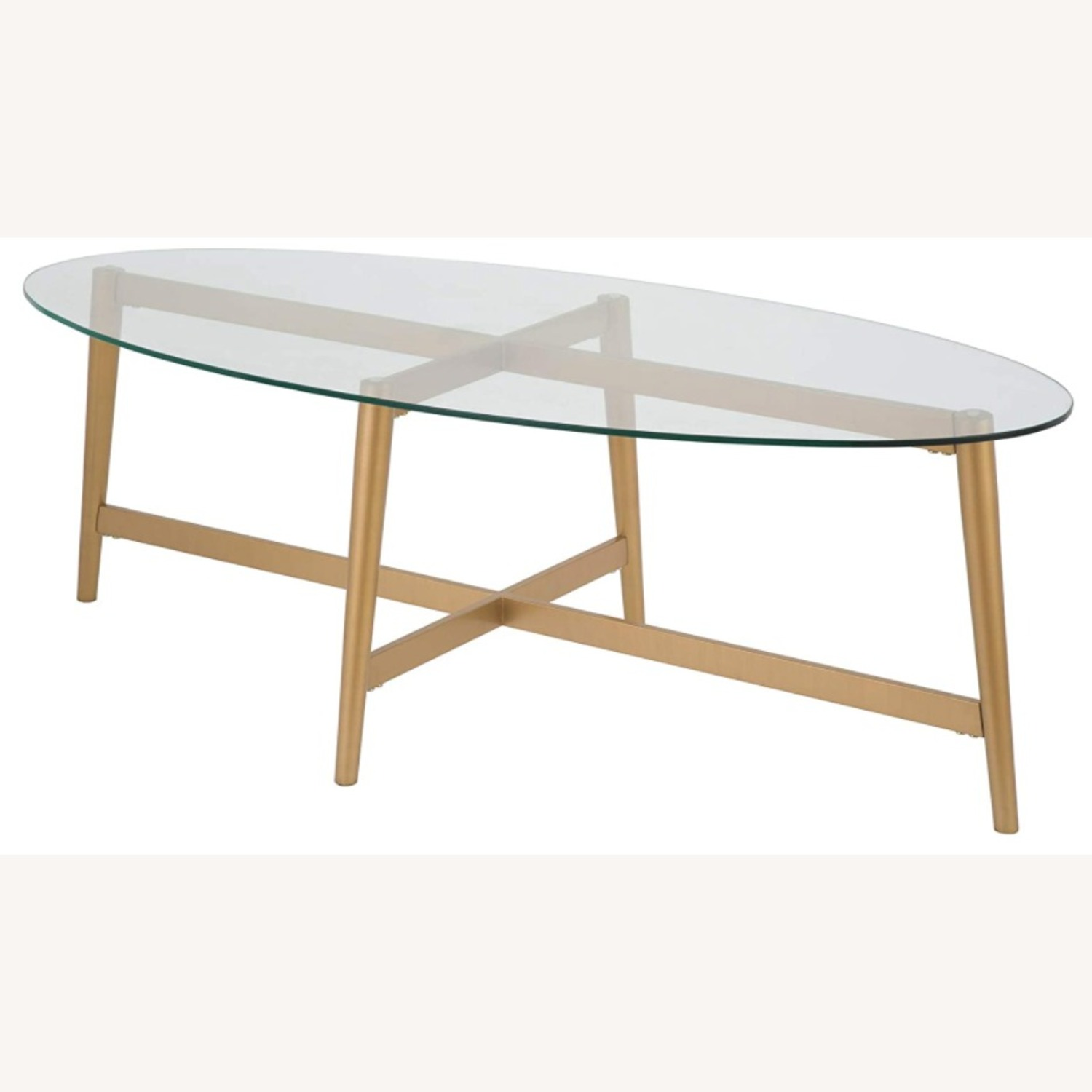 Mid Century Modern Glass Coffee Table w Gold Frame - image-1