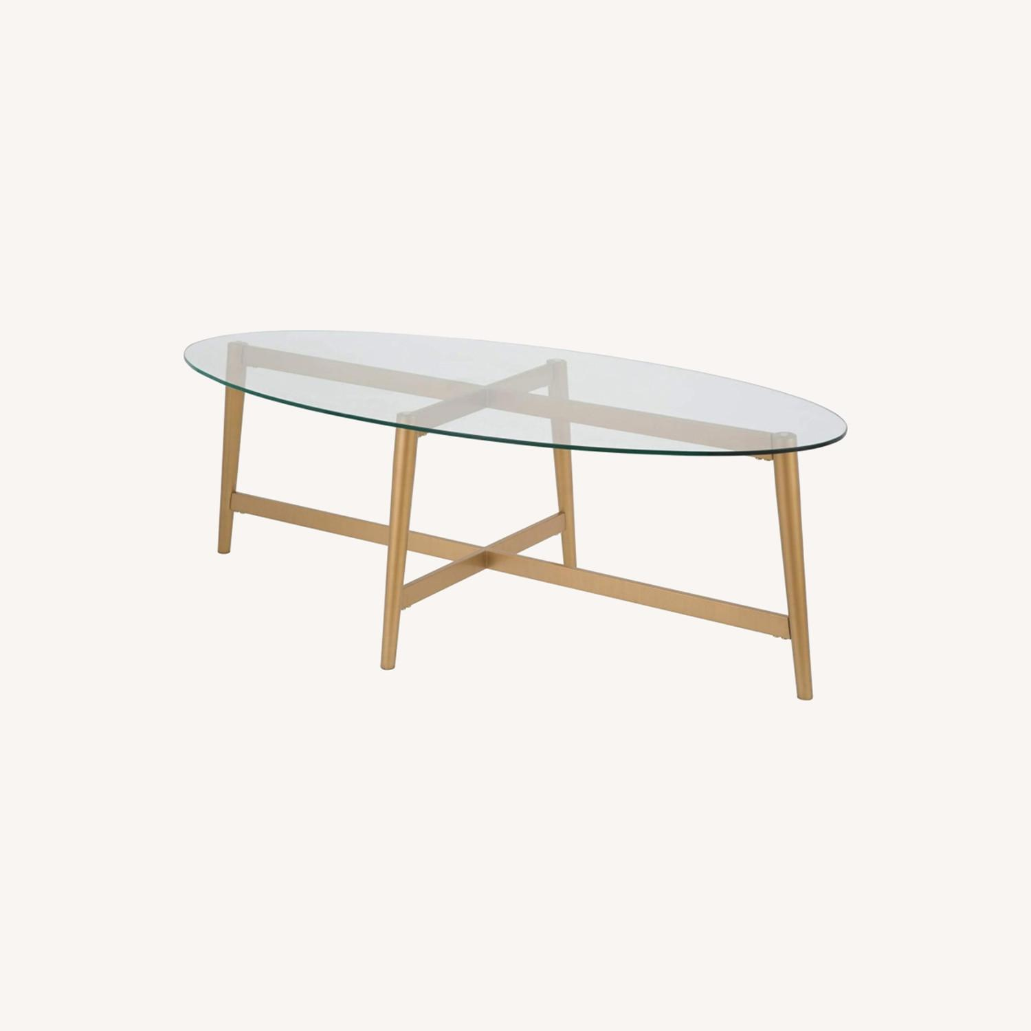Mid Century Modern Glass Coffee Table w Gold Frame - image-0
