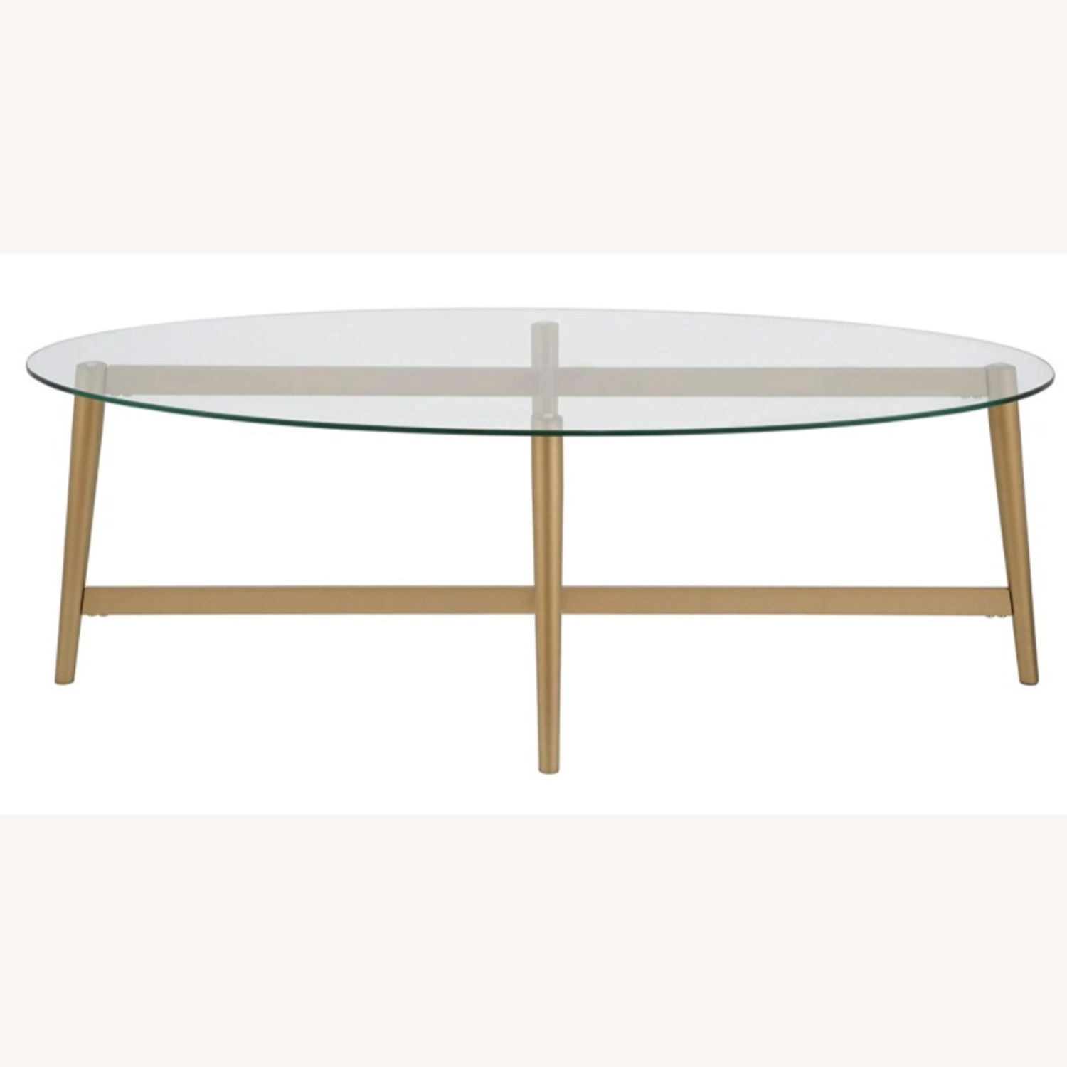 Mid Century Modern Glass Coffee Table w Gold Frame - image-2