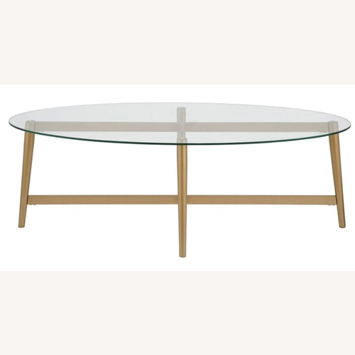 Used Mid Century Modern Glass Coffee Table w Gold Frame for sale on AptDeco