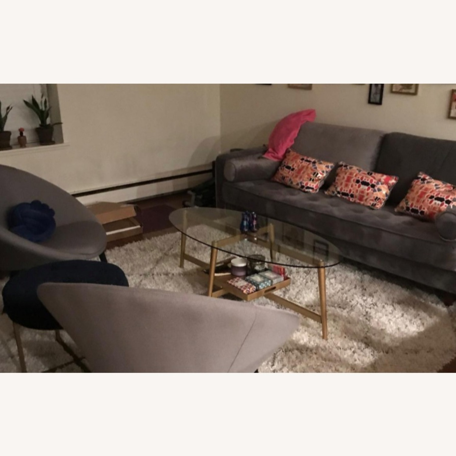 Mid Century Modern Glass Coffee Table w Gold Frame - image-3