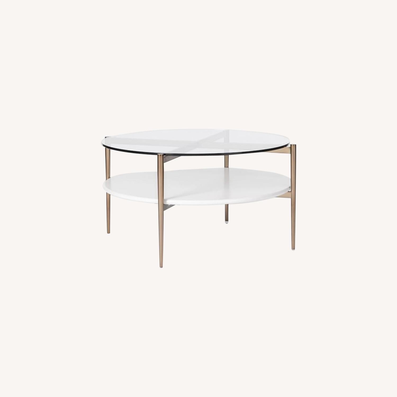 West Elm Art Display Round Coffee Table - image-0