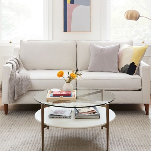 Used West Elm Art Display Round Coffee Table for sale on AptDeco