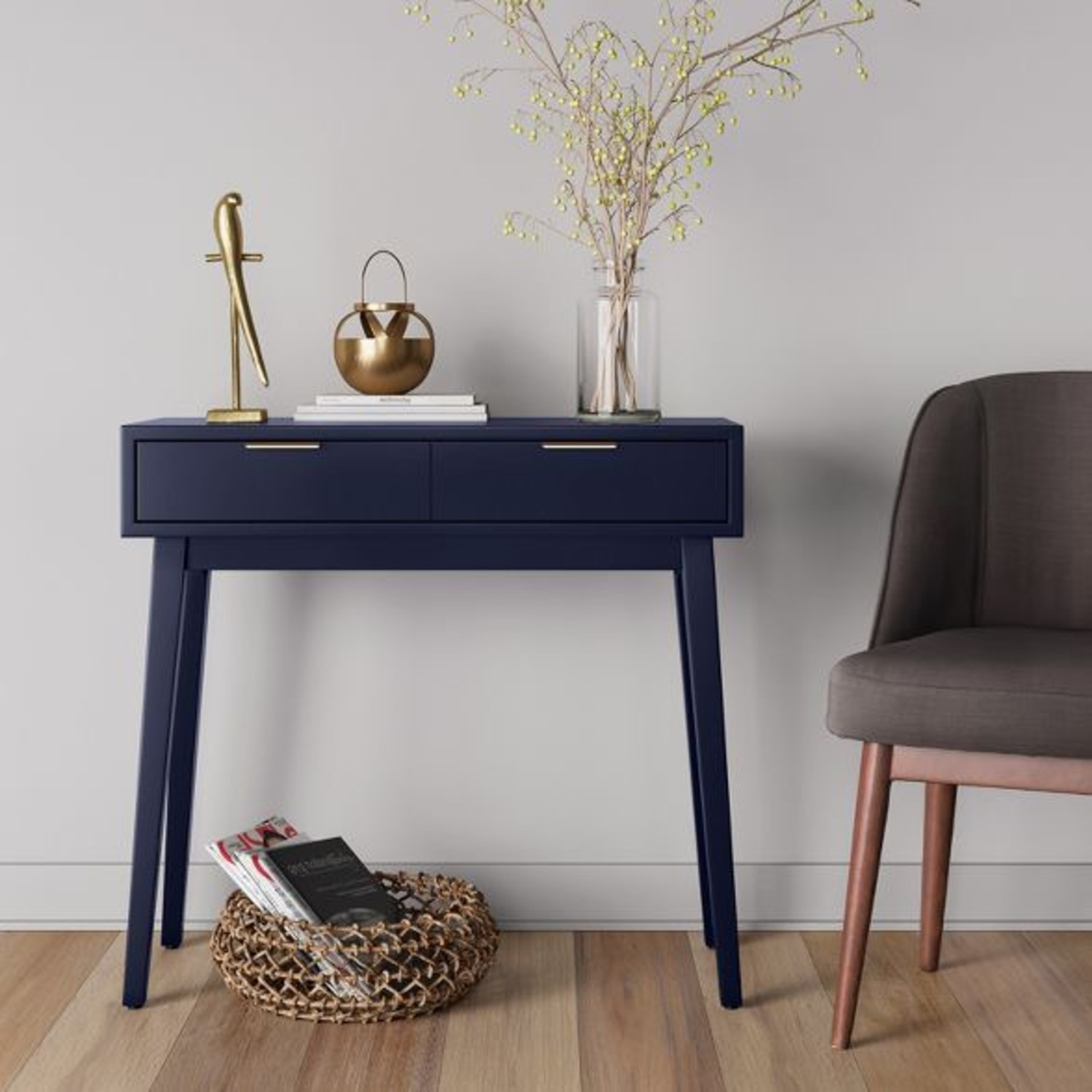 Target Blue Two Drawer Console Table - image-2