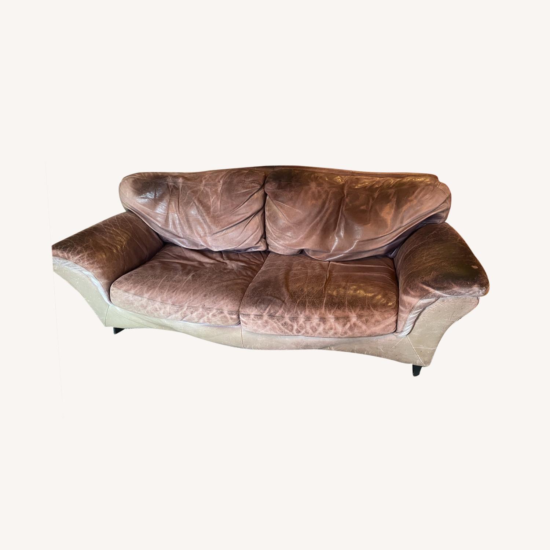 Jensen-Lewis Purple Leather Sofa - image-0