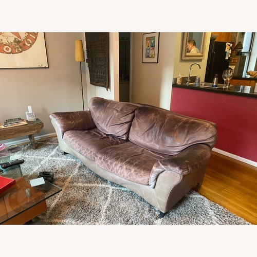 Used Jensen-Lewis Purple Leather Sofa for sale on AptDeco