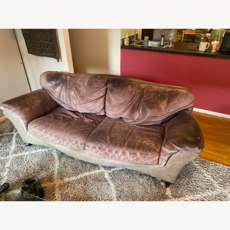 Jensen-Lewis Purple Leather Sofa - image-10