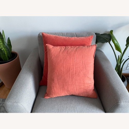 Used Orange Linen Cushion for sale on AptDeco