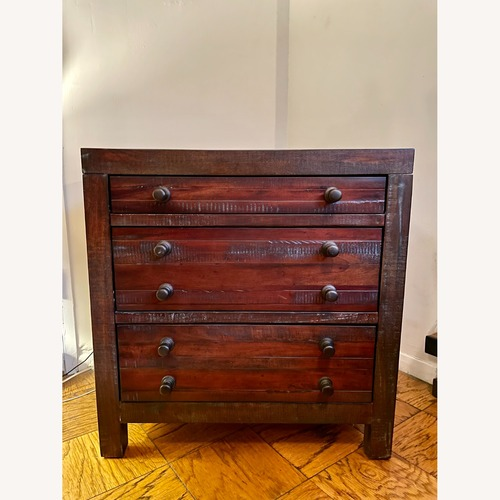 Used Bob's Discount Mahogany Patina 3 Drawer Nightstand for sale on AptDeco
