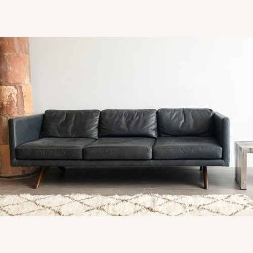 Used West Elm Distressed Gray Leather Sofa, 3-seat for sale on AptDeco