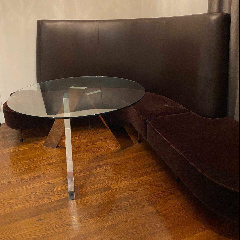 Chocolate Leather/Velvet Corner Curve Banquette - image-3