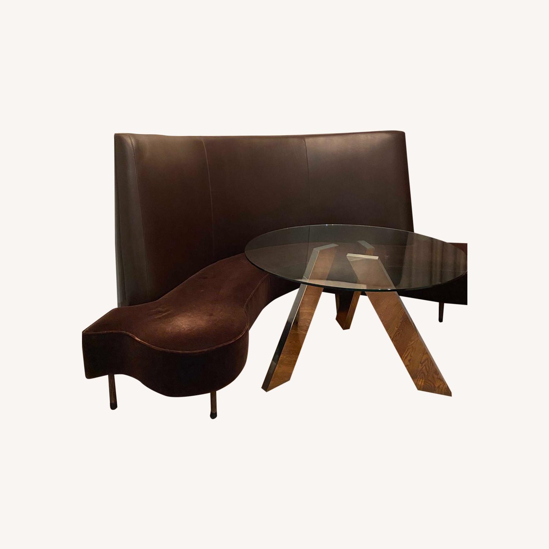 Chocolate Leather/Velvet Corner Curve Banquette - image-6