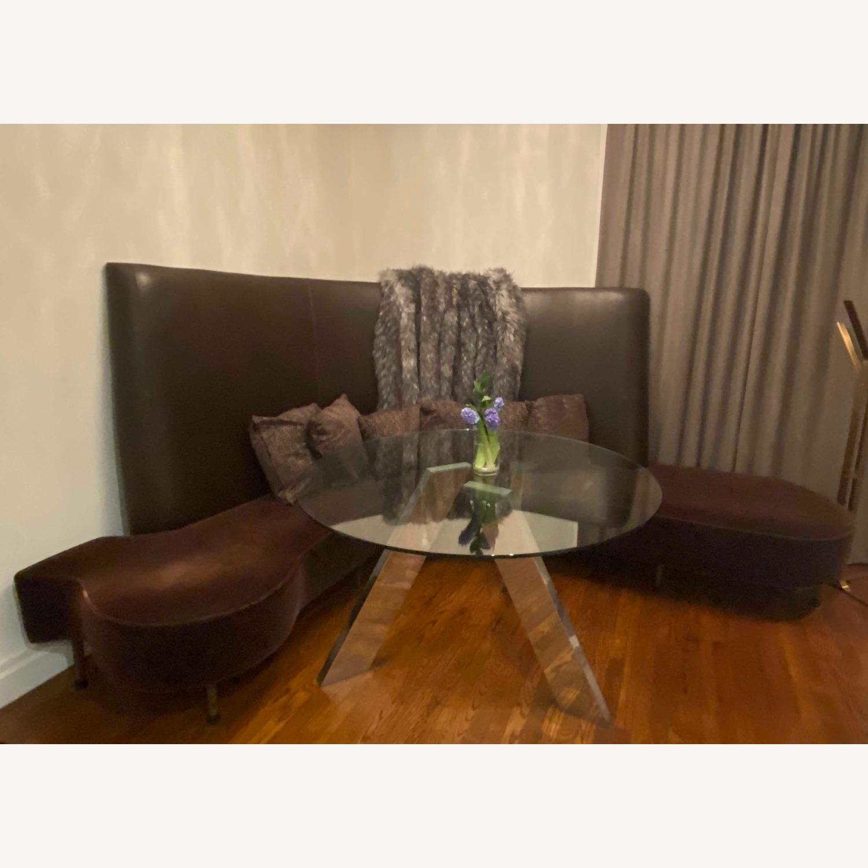 Chocolate Leather/Velvet Corner Curve Banquette - image-1