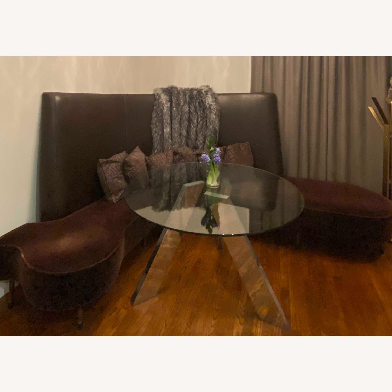 Chocolate Leather/Velvet Corner Curve Banquette - image-5