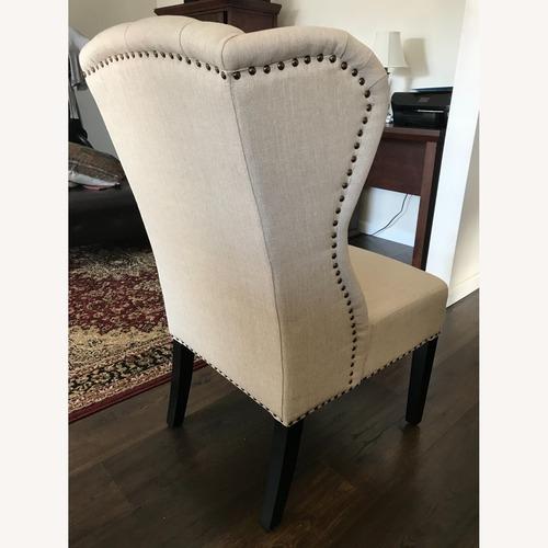 Used Abbyson Living Beige Linen Studded Chair for sale on AptDeco