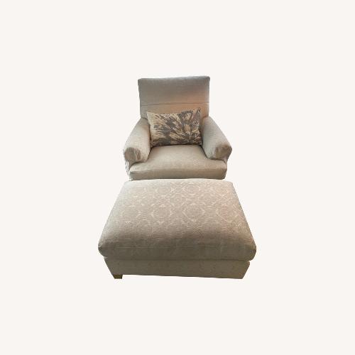 Used Armchair & Ottoman in Off White/Gold Fabric for sale on AptDeco