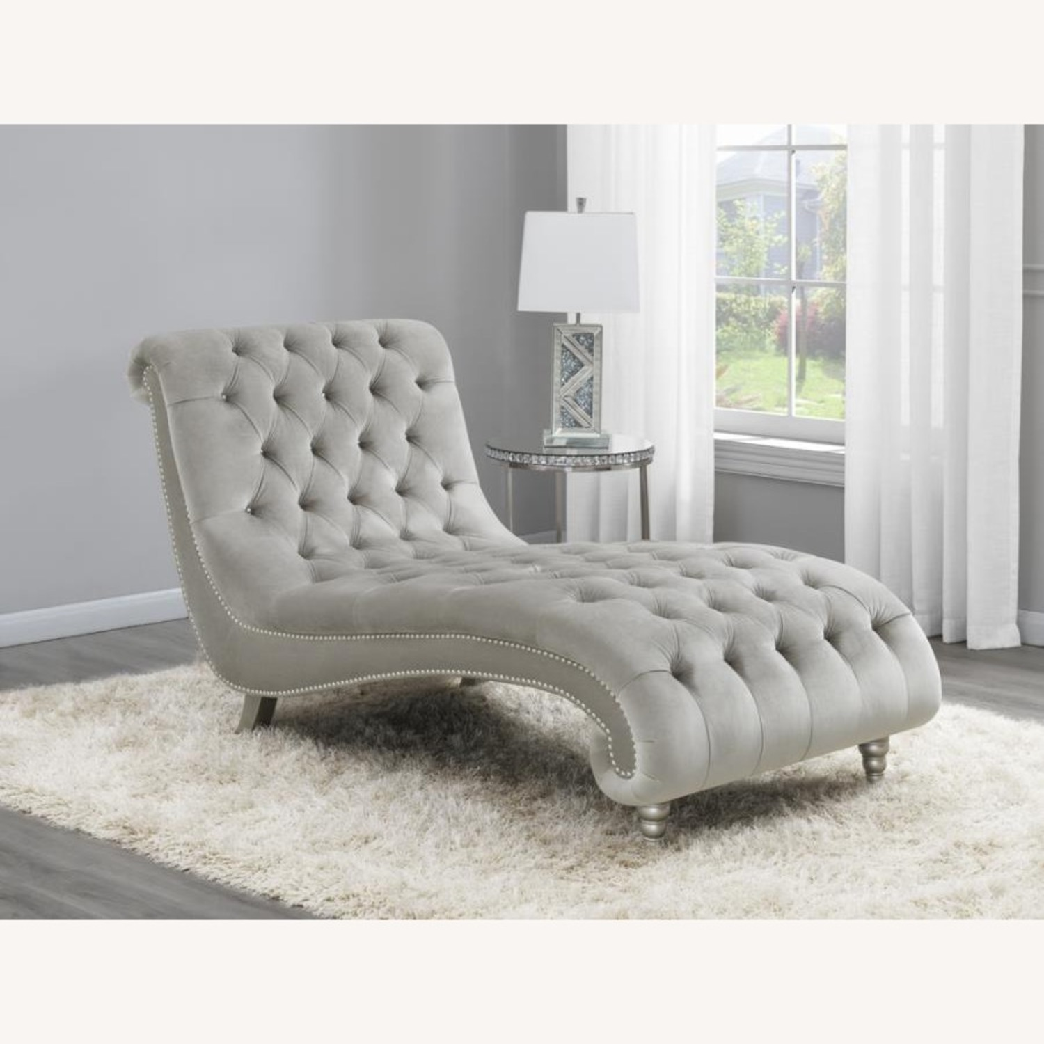Chaise In Grey Velvet Chaise W/ Button Tufting - image-2