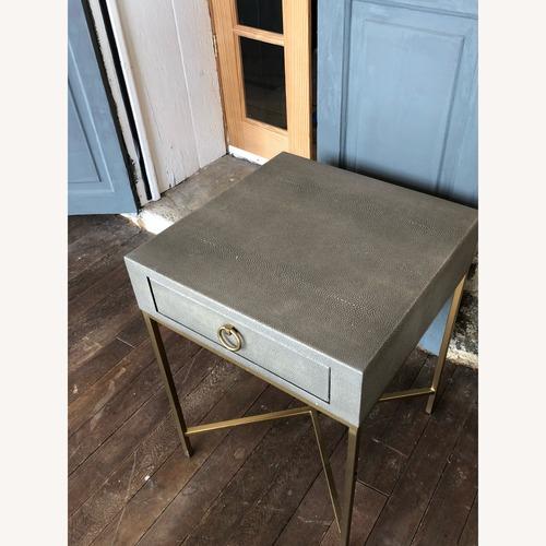 Used Restoration Hardware Bedside Table - Fog/Brass for sale on AptDeco