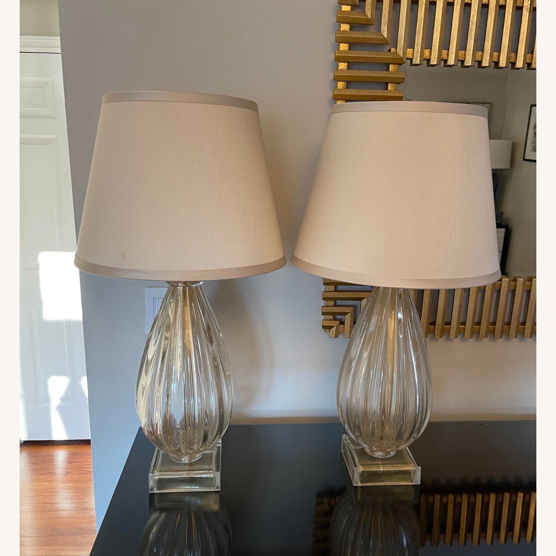 Nancy Corzine Pair of Murano Teardrop 617G Lamps - image-6