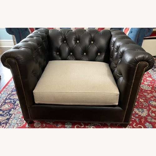 Used Lillian August Leather & Linen Armchairs for sale on AptDeco