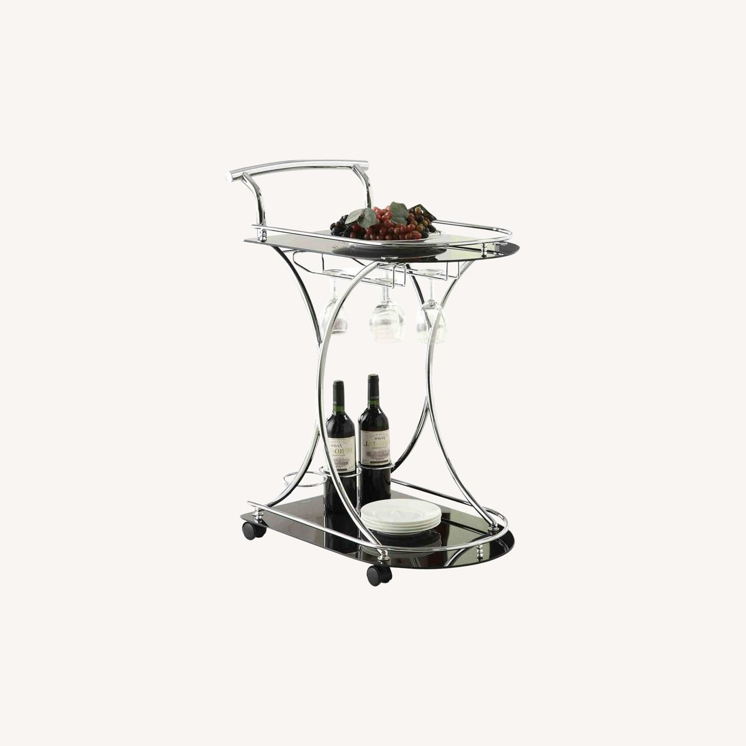 Serving Cart In Chrome Metal Finish W/ Wine Rack - image-5