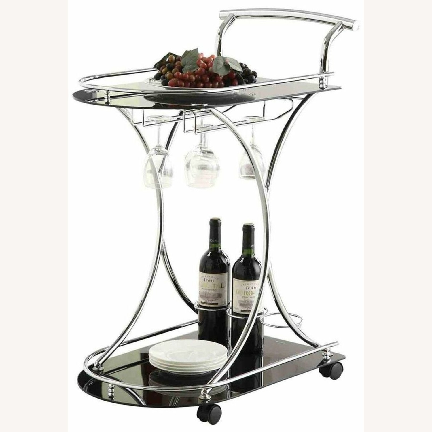 Serving Cart In Chrome Metal Finish W/ Wine Rack - image-1