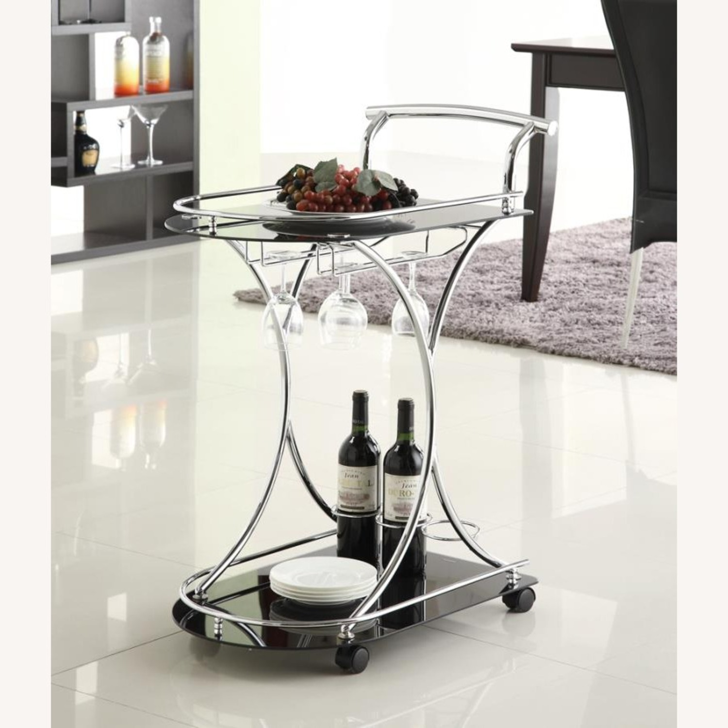 Serving Cart In Chrome Metal Finish W/ Wine Rack - image-3