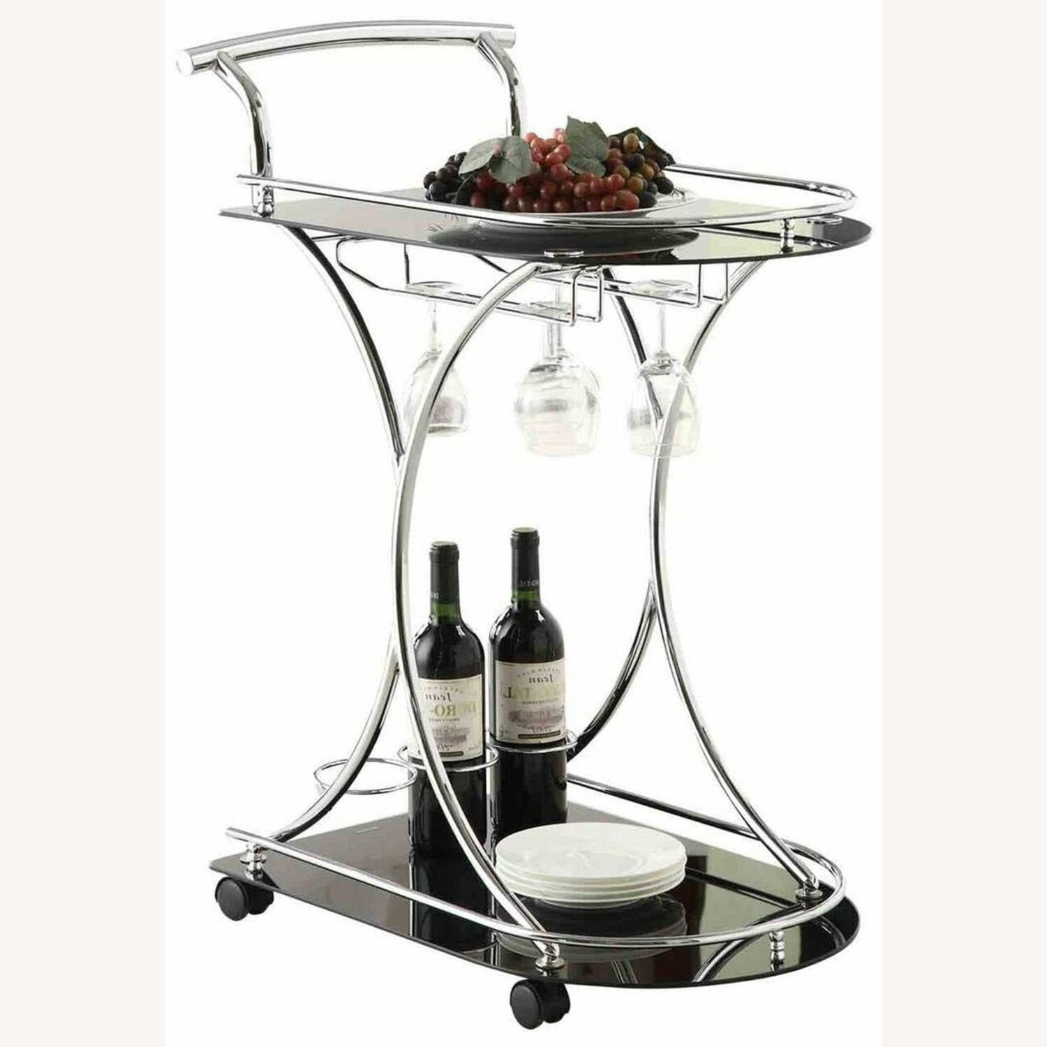 Serving Cart In Chrome Metal Finish W/ Wine Rack - image-0