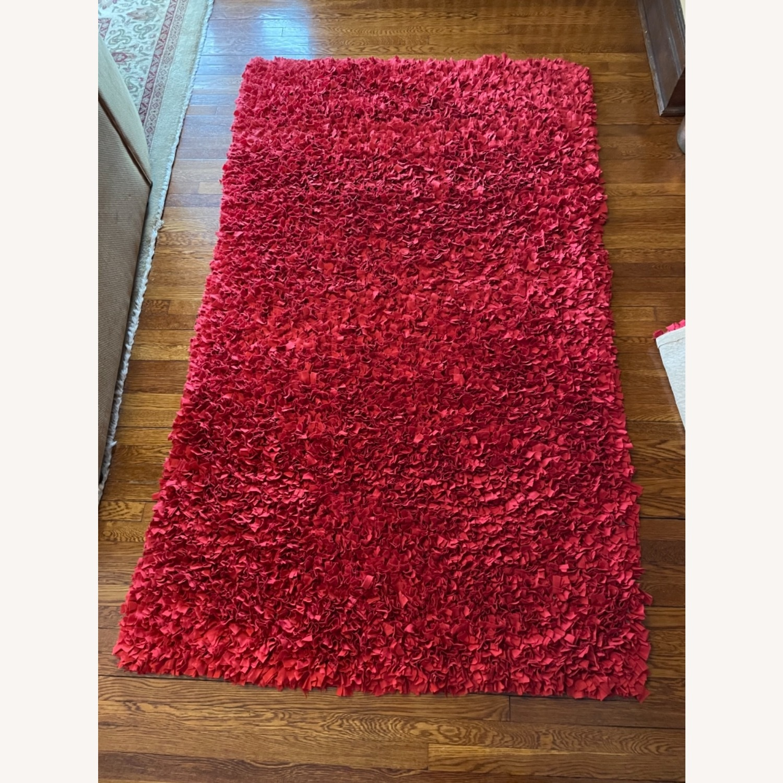 Red Cotton Rag Rug - image-7