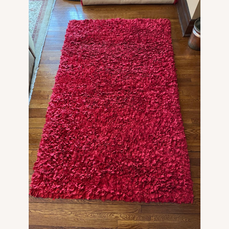 Red Cotton Rag Rug - image-1