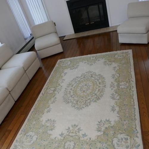 Used Hand-woven Pastel 100% Virgin Wool Oriental Rug for sale on AptDeco