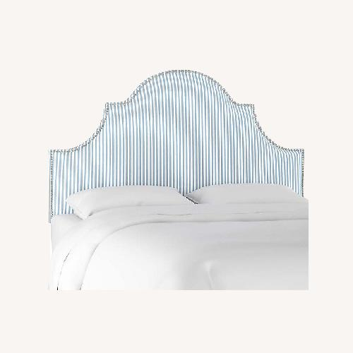 Used One King's Lane Blue and White Striped Full Headboard for sale on AptDeco