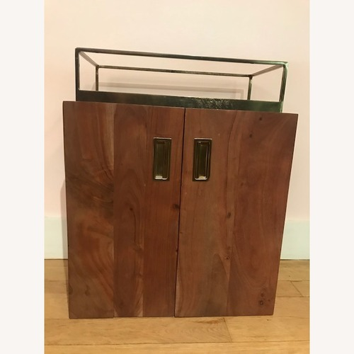 Used CB2 Acacia Mid Century Bar Cabinet for sale on AptDeco