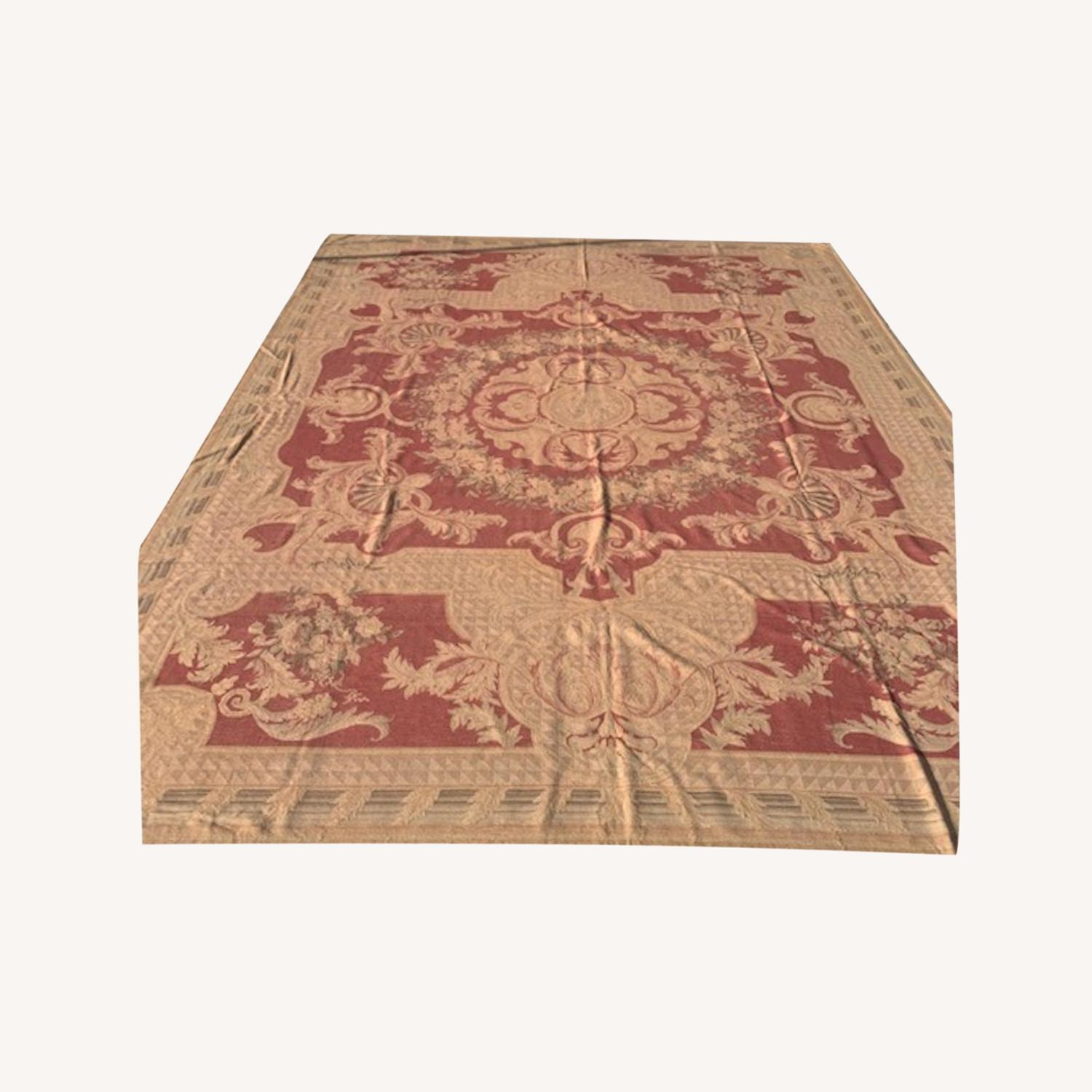Vintage Aubusson flat weave Red and Tan rug - image-0